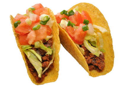 Two Tacos Isolated Over White