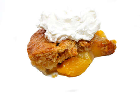 doughy: Fresh Baked Peach Cobbler with Whipped Cream