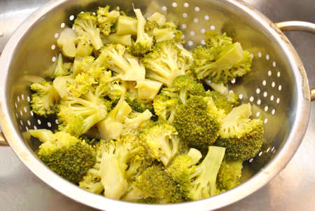 strainer: Fresh Broccoli in a Strainer