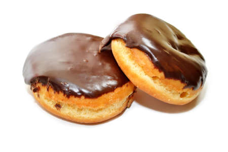 dough nut: Two Chocolate Covered Donuts with Creamy Filling