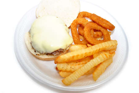 cheesy: Cheesy Burger with Onion Rings and Fries
