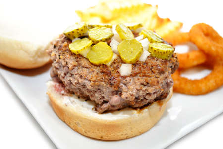 Rare Hamburger with Chopped Pickles and Onions photo