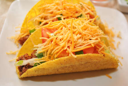 cheesy: Cheesy Beef Tacos on a Plate