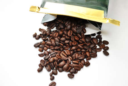opened bag: Opened Bag of Coffee Beans