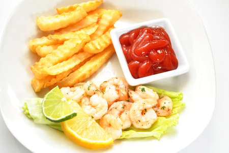 catsup: Shrimp Dinner with a Side of Catsup Stock Photo