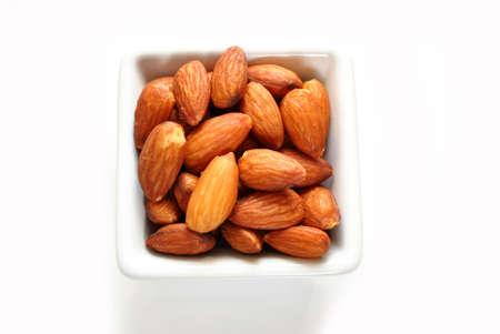 Whole Almonds in a White Square Bowl
