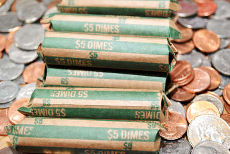 coinage: Rolled Bank Dimes on Mixed Coinage
