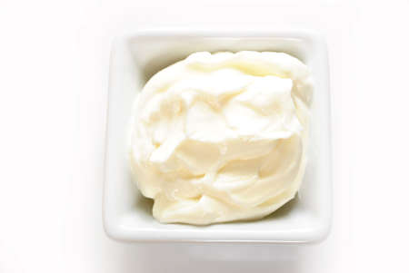 Sour Cream in a White Square Bowl photo