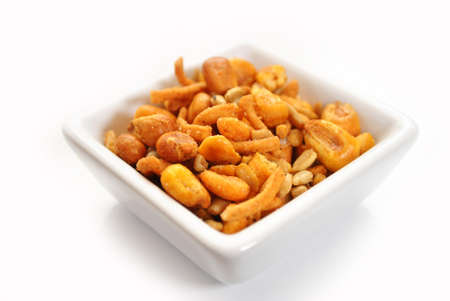 Spicy Trail Mix in a White Square Bowl photo