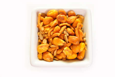 Top View of Spicy Trail Mix in a Square Bowl photo