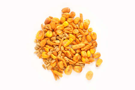 Spicy Trail Mix Over a White Background photo