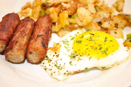 Eggs, Sausage and Hashbrowns for a Delicious Breakfast photo