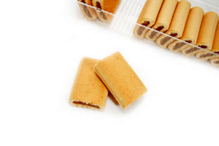 flavorful: Fig Dessert Cookies with a Package in the Background Stock Photo