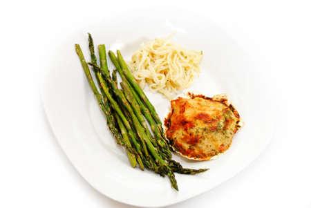 heathy: Heathy Light Vegetarian Dinner Served on a White Plate