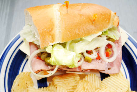 hoagie: Hoagie Sandwich Roll with Ham and Veggies