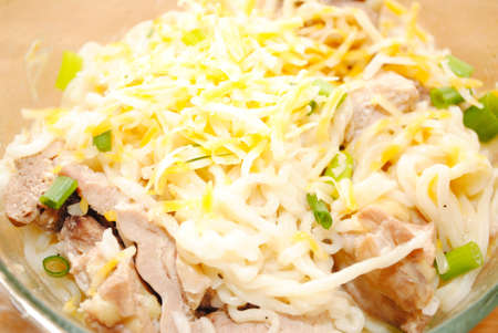 Noodles with Cheese and Chicken Pieces
