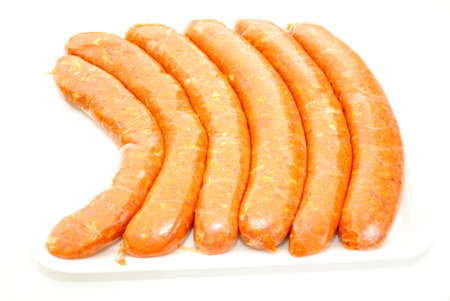hots: Raw Hot and Spicy Italian Sausage Links Stock Photo