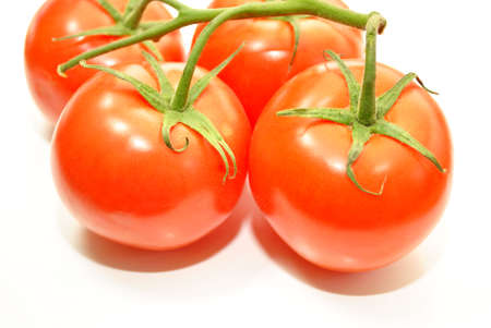 Ripe Tomatoes Isolated Over White photo