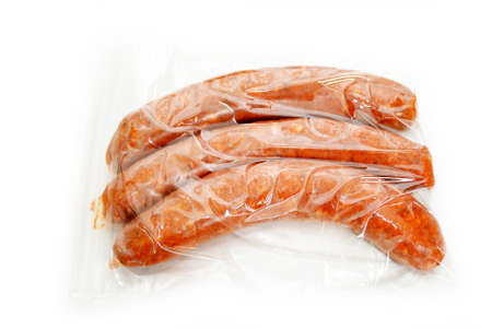 hots: Sausage Links in a Storage Freezer Bag Stock Photo