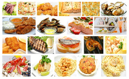 Gourmet Restaurant Seafood Dishes Collage photo