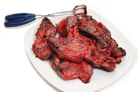Barbequed Chinese Pork Ribs with Serving Tongs