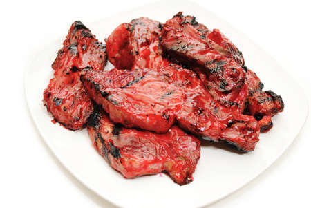 Chinese Sticky Barbeque Spareribs on a White Plate