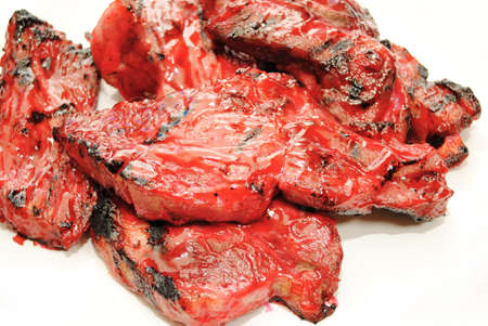 Barbequed Chinese Sauce on Grilled Pork Ribs photo
