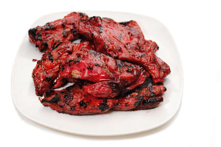 Chinese Barbequed Pork Ribs on a Plate Stock fotó