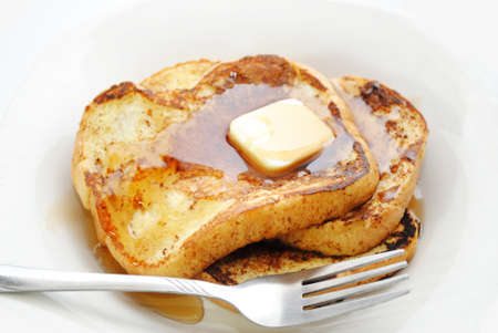 French Toast Served with Syrup and Butter