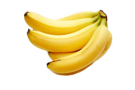 ripened: A Bunch of Fresh Organic Bananas on White Stock Photo
