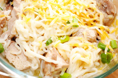 scallions: Cheesy Chicken and Ramen Noodles with Scallions