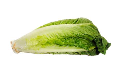 Fresh Organic Romain Lettuce Over a White Background