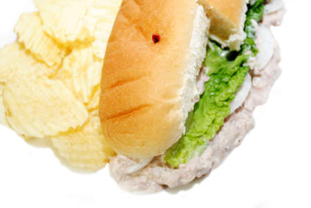 hoagie: Lunch of Tuna Sandwich with Potato Chips