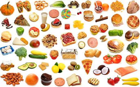 carnes y verduras: Random Alimentos Collage aislado más de blanco Foto de archivo