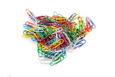 A Pile of Colorful Paper Clips on White photo
