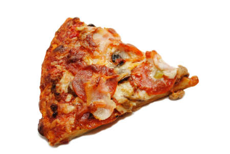meaty: A Slice of Meaty Pizza Isolated on White