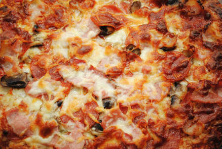 hotter: Background of Browned Cheesy Meats Pizza Pie