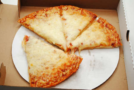 take out: Cheese Pizza in a Take Out Box Stock Photo