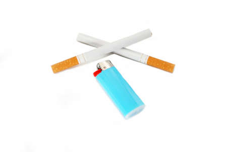 A Blue Cigarette Lighter with Two Cigarettes,