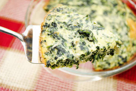 protien: Close Up of a Serving of Spinach Quiche