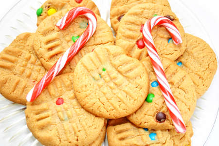 Peanutbutter Christmas Cookies with Two Candy Canes photo