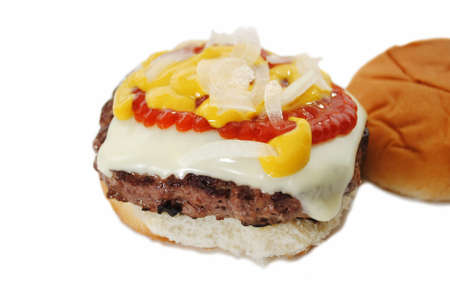 catsup: Juicy Cheese Burger with Onion, Mustard, and Catsup