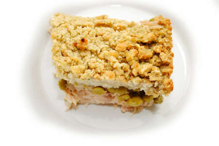 shepards: Turkey Shepards Pie with Peas and Topped with Bread Stuffing
