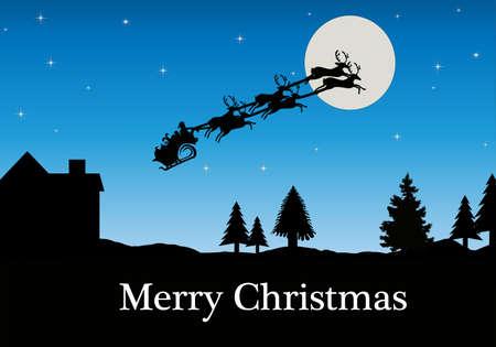 Santa Sleigh Silhouette on a Clear Night
