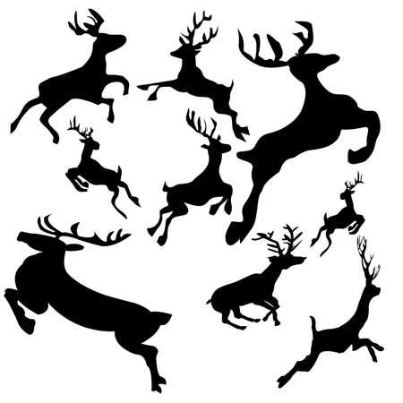 Christmas - Reindeer Silhouettes Ilustrace