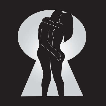 romantic sex: Conceptual Keyhole Love Vector