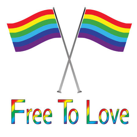 civil rights: Gay Pride Flags Isolated on White - Free to Love
