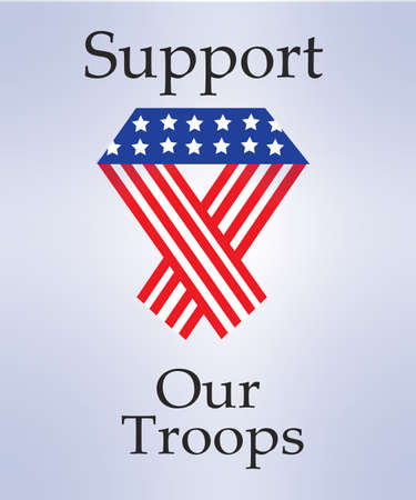 troops: Support Our Troops With an American Ribbon Vector