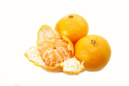 Eating Healthy Organic Tangerines Over White photo