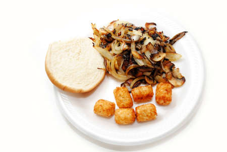 tots: Onion Mushroom Burger with a Side of Tater Tots Stock Photo